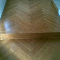 Herringbone pattern done with Carbonized strandwoven bamboo T&G panels